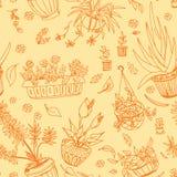 Pot plants seamless pattern Stock Image