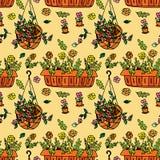 Pot plants seamless pattern Stock Photo
