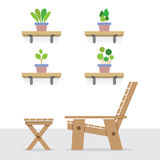 Pot Plants On Shelves With Of Wooden Garden Chair And Table Royalty Free Stock Photography