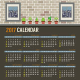 Pot Plants With Windows Show Outside View On Brick Wall 2017 Printable Calendar Starts Sunday. Flat Design Pot Plants With Windows Show Outside View On Brick Royalty Free Stock Images