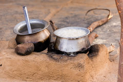 Pot of porridge, Puttaparthi, Andhra Pradesh, India. Copy space for text. Pot of porridge, Puttaparthi, Andhra Pradesh, India. Copy space for text Royalty Free Stock Images