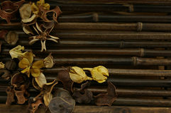 Pot pourri. On a brown wooden table Stock Photos