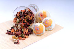 Pot pourri, candle home set. Used to make a room smell fresh stock photography