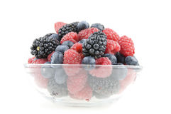 Pot of raspberries, blueberries and blackberries Royalty Free Stock Photography