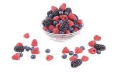 Pot of raspberries, blueberries and blackberries Royalty Free Stock Image