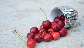 Pot of Ripe cherries Stock Photos