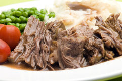 pot roast beef dinner vegetables Stock Image