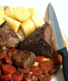 Pot roast vertical view uncarved Royalty Free Stock Photos