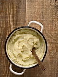 Pot of rustic mash potato Stock Photography