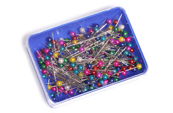 Pot of sewing pins Royalty Free Stock Photos