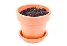 Pot with soil Stock Photo