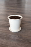 Pot with soil Royalty Free Stock Photography