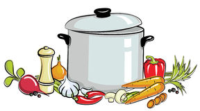 Pot of soup Royalty Free Stock Image