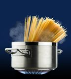Pot of spaghetti. That cooks on the stove stock image