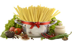 Pot with spaghetti isolated Stock Photos