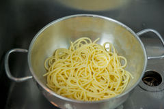 Pot with spaghetti just drained. Steel pot with italian spaghetti Royalty Free Stock Images