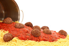 Pot of Spaghetti Noodles with Meatballs Royalty Free Stock Photos