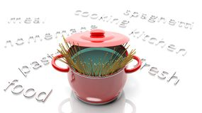 Pot with spaghetti Stock Image