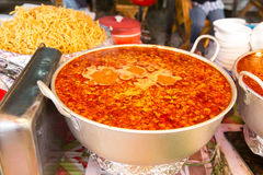 Pot of spicy soup at street market Royalty Free Stock Image
