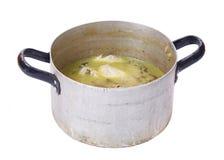 POT sporco con minestra Fotografie Stock Libere da Diritti