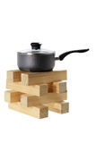 Pot on Stack of Wood Royalty Free Stock Image