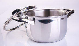 Pot or stainless steel cooking pot on a background. Royalty Free Stock Photos