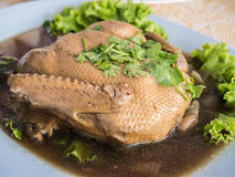 Pot stewed duck with coriander on top.  Royalty Free Stock Photos