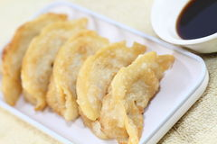 Pot stickers. Or Chinese dumplings with Asian dipping sauce stock photo
