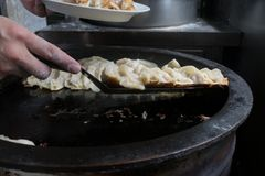 Pot stickers gyoza ,Chinese cuisine, view from the top. royalty free stock photography