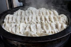 Pot stickers gyoza ,Chinese cuisine, view from the top. Pot Stickers with Dumpling Sauce and Chili Oil. Space, back stock photo