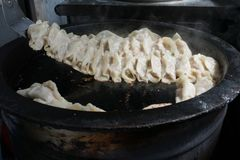 Pot stickers gyoza ,Chinese cuisine, view from the top. stock photography