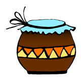 Pot for storage. Vector illustration. Drawing by hand Stock Photography