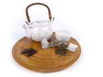 Pot of tea with different kinds of fresh tea Royalty Free Stock Photography