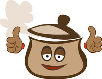 Pot with thumbs up Stock Photos
