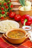 Pot of tomato soup and fresh vegetables Royalty Free Stock Image