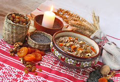 Pot with traditional Christmas porridge. Pot with wheat porridge which is prepared on Christmas Eve Kutya is a traditional food on Christmas Eve Stock Images