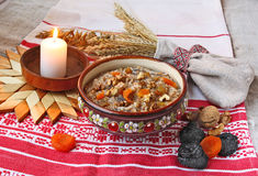 Pot with traditional Christmas porridge Stock Images