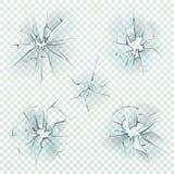 pot?uczone szk?o Realistyczni krakingowi zdruzgotani zniekształcań lustra rozbijają lód, zniweczony parawanowy okno, pocisk szkla royalty ilustracja