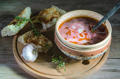 Pot of ukrainian borsch Royalty Free Stock Images