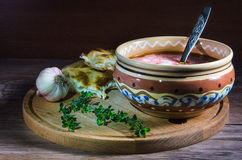 Pot of ukrainian borsch Royalty Free Stock Photography