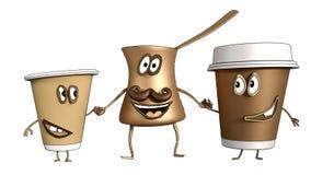 Pot van de beeldverhaal de Turkse koffie met Twee koppen van koffie royalty-vrije illustratie