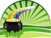 Pot van goud met regenboog Stock Foto's