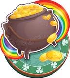 Pot van goud op de Dag van Heilige Patricks. Stock Afbeeldingen