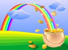 Pot van gouden muntstukken en regenboog op het gebied Stock Fotografie