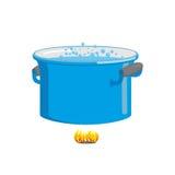 Pot van kokend water op brand kokend voedsel Blauwe cookware Stock Foto's