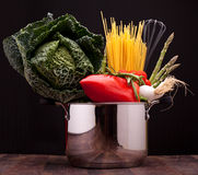 Pot With Vegetables And Pasta Royalty Free Stock Photos