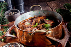 Pot of Venison Goulash Seasoned with Fresh Herbs Stock Photos