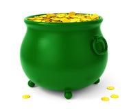 Pot vert avec des pièces de monnaie Photos stock