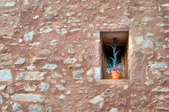 Pot in a window, Collbato, Spain Stock Images