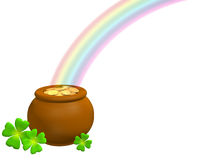 Pot With Gold At The Basis Of A Rainbow Royalty Free Stock Images